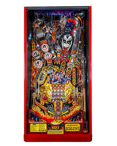 Kiss Limited Edition pinball playfield at Joystix