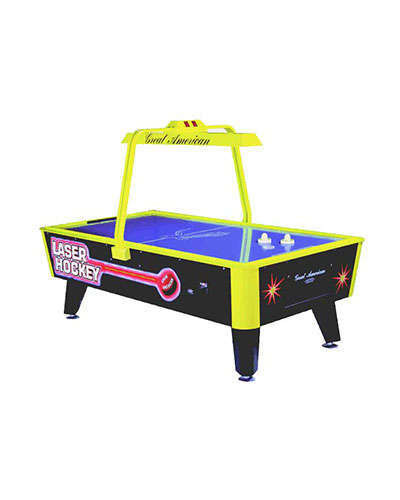 Laser Blacklight Air Hockey game at Joystix
