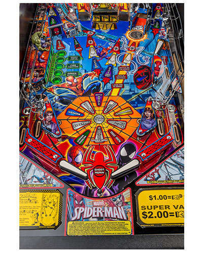 Spiderman Vault Edition pinball details at Joystix 3
