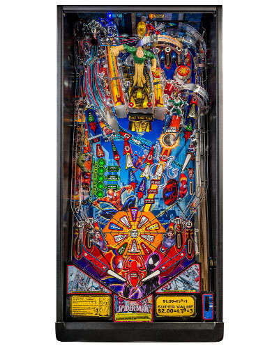 Spiderman Vault Edition pinball playfield at Joystix