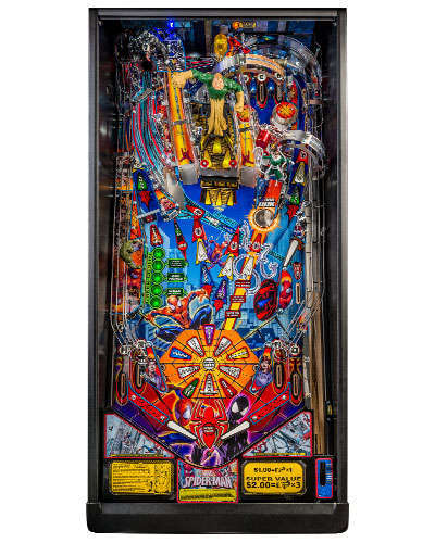 Spiderman Vault Edition pinball playfield at Joystix