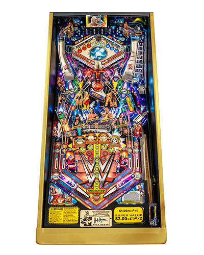WWE Wrestlemania Limited Edition Pinball playfield at Joystix