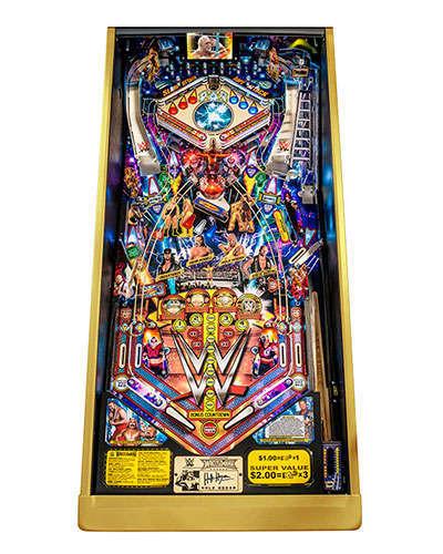 WWE Wrestlemania Limited Edition Pinball playfield at Joystix