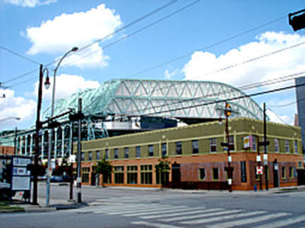Joystix street view with Minute Maid Stadium in background