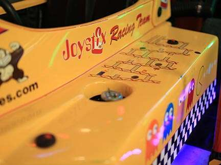 Close up of a Joystix arcade game