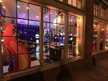 Joystix Showroom view through windows from street