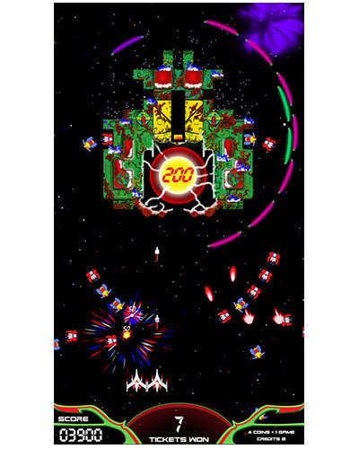 Galaga Assault arcade game screen shot at Joystix 1