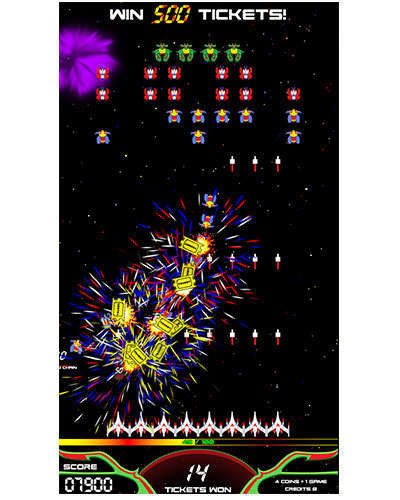 Galaga Assault arcade game screen shot at Joystix 2