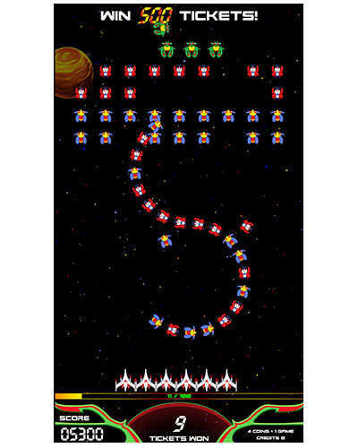 Galaga Assault arcade game screen shot at Joystix 3