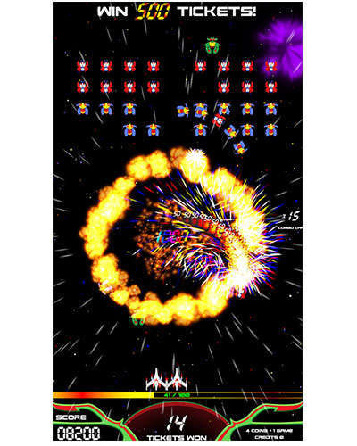 Galaga Assault arcade game screen shot at Joystix 5