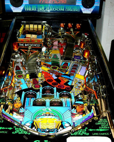 THE SHADOW PINBALL PLAYFIELD AT JOYSTIX