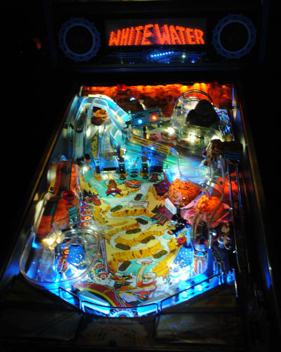 WHITE WATER PINBALL PLAYFIELD AT JOYSTIX