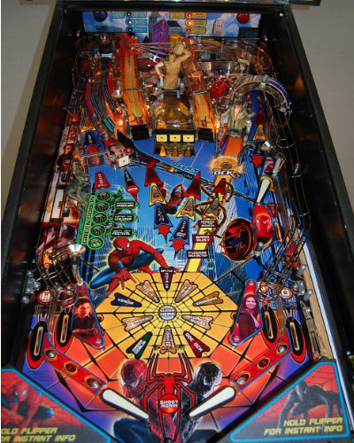 spiderman pinball playfield 2 at joystix