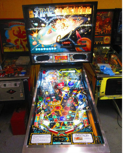 time machine pinball playfield at joystix