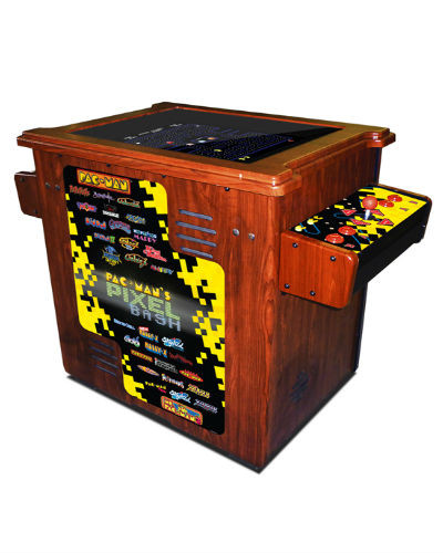 pac man's pixel bash woodgrain cocktail at joystix